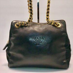 ee9f305f3b9 Authentic Prada Milano Leather Chain Shoulder Bag